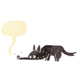 Cartoon dog sniffing floor with speech bubble vector image