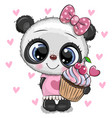 cartoon panda with cupcake on a hearts background vector image
