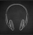 chalk drawn headphones vector image