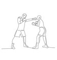 continuous one line boxing sparring boxer strikes vector image vector image