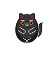 cute cartoon kawaii black cat on white background vector image