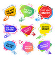did you know labels color set vector image vector image