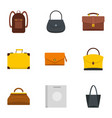 different bagage icon set flat style vector image vector image