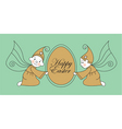 Easter egg with elves vector image vector image