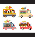 fast food trailer set with burger pizza drink vector image
