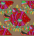 fishes on beige red and magenta colors seamless vector image