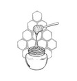 graphic meadow honey flowing from stick to the vector image