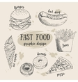 Hand drawn fastfood set Creative vector image vector image
