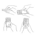hands typing phone set smartphone texting via vector image vector image