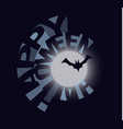 happy halloween banner bat sillhouette vector image