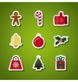 happy merry christmas set decorative icons vector image