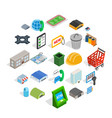 industrial area icons set isometric style vector image vector image