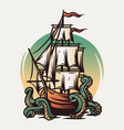 marine nautical sea ship and kraken wanderlust vector image vector image