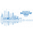 outline welcome to moscow russia skyline with vector image