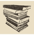 Pile old books vintage drawn sketch vector image