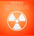 radioactive icon isolated on orange background vector image vector image