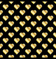 seamless pattern of gold hearts on black vector image