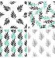 seamless patterns with green leaves vector image vector image