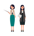 set of women teachers pointer and tablet in hand vector image vector image