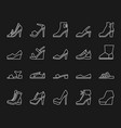 shoes simple white line icons set vector image
