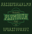 vintage label font named plymouth vector image vector image