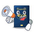 with megaphone blue passport in the cartoon form vector image vector image