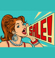 woman announcing sale vector image vector image