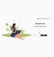 woman blogger using laptop online communication vector image