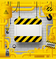 yellow gas pipes and suspended sign with vector image