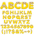 yellow jelly alphabet letters numbers with eyes vector image vector image