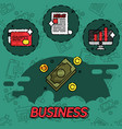 business flat concept icons vector image
