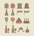 colorful vintage party icons vector image
