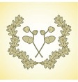 wreath of graphic oak leaves and acorn branches vector image