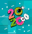 2020 comic text calendar template pop art vector image vector image