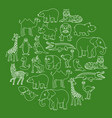 aanimals black and white icons graphic vector image