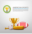 american sports sign cover object vector image vector image