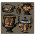 ancient greece antique amphora set vase vector image vector image