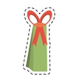 big green gift box line dotted vector image vector image
