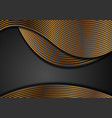 black corporate wavy background with golden lines vector image vector image