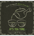 Blackboard with two cup of Japanese Green Tea vector image