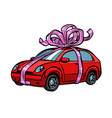 car gift transport tied with festive ribbons vector image