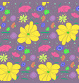 cartoon cute sketch pattern with colorful flowers vector image