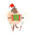 cartoon funny sheep with garland christmas vector image