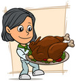 cartoon girl character with fried turkey on tray vector image vector image
