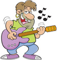 Cartoon man playing a guitar vector image vector image