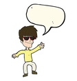cartoon waving cool guy with speech bubble vector image