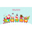 cheerful train christmas card vector image vector image