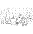 christmas characters coloring page vector image vector image
