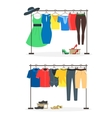 Clothes Racks with Wear on Hangers Set vector image vector image