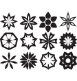 Collection of 12 Different Stylistic Flowers Black vector image